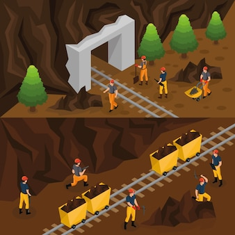 Bannières horizontales de l'industrie d'extraction de charbon isométrique