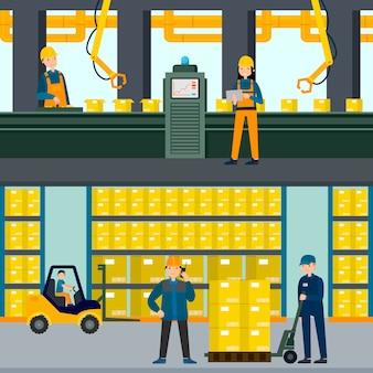 Bannières horizontales industrielles plates