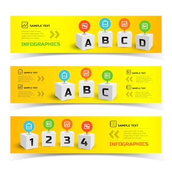 Bannières horizontales infographiques colorées avec des carrés 3d