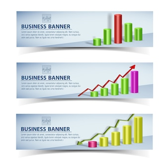 Bannières horizontales infographiques commerciales avec graphique coloré et flèches isolées