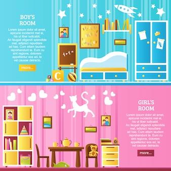 Bannières horizontales intérieures de chambre de bébé