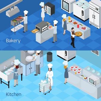 Bannières horizontales intérieures de cuisine professionnelle