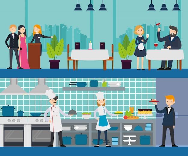 Bannières horizontales intérieures de restaurant