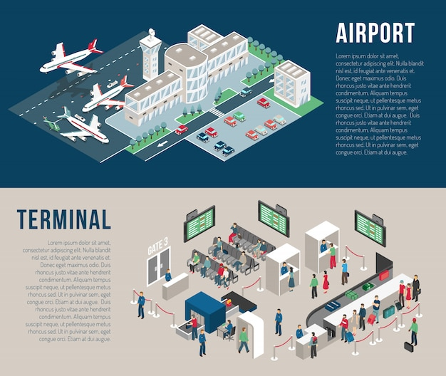 Bannières horizontales isométriques d'aéroport