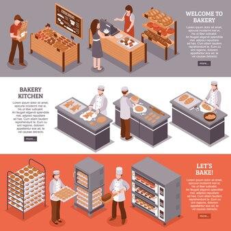 Bannières horizontales isométriques de boulangerie