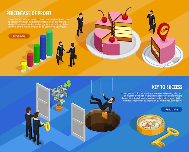 Bannières horizontales isométriques de développement des affaires