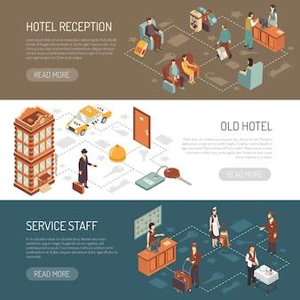 Bannières horizontales isométriques d'hôtel