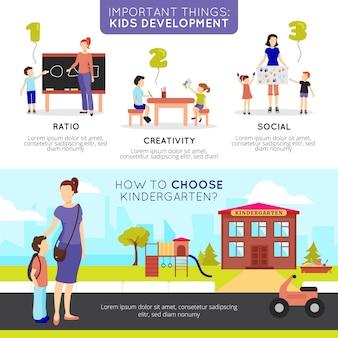 Bannières horizontales de jardin d'enfants sertie de symboles de développement enfants plat