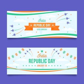 Bannières horizontales de jour plat république