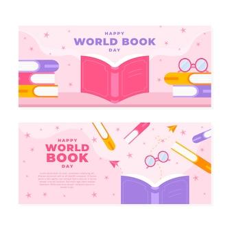Bannières horizontales de la journée mondiale du livre plat