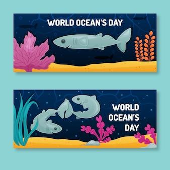 Bannières horizontales de la journée mondiale des océans plats