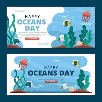 Bannières horizontales de la journée mondiale des océans