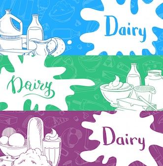 Bannières horizontales avec lettrage et produits laitiers dessinés à la main, éclaboussures de lait