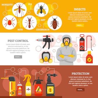 Bannières horizontales de lutte contre les parasites