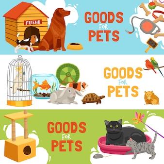 Bannières horizontales marchandises pour animaux domestiques