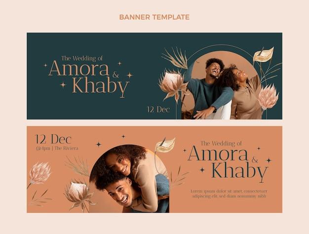 Bannières horizontales de mariage boho aquarelle