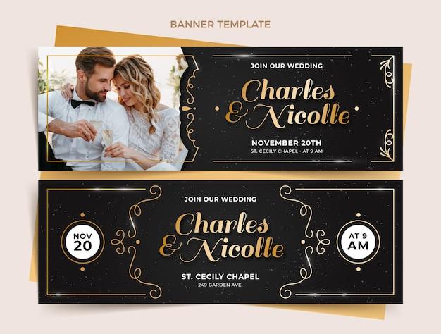 Bannières horizontales de mariage doré de luxe réaliste