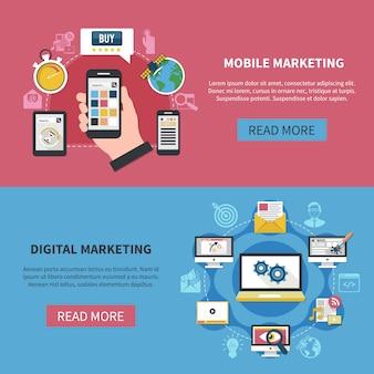 Bannières horizontales de marketing numérique