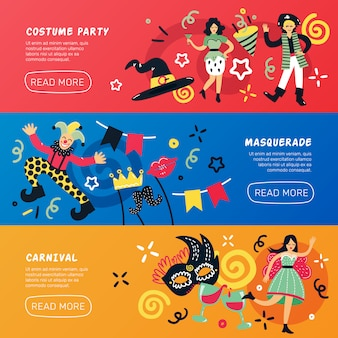 Bannières horizontales de mascarade de carnaval