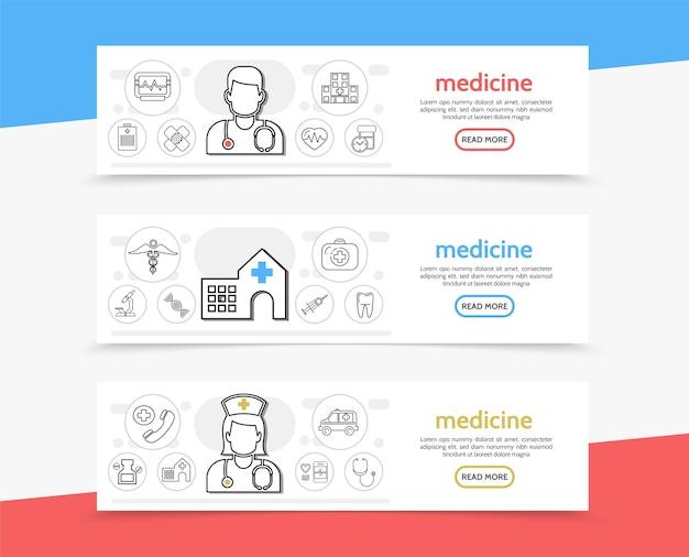 Bannières horizontales de médecine