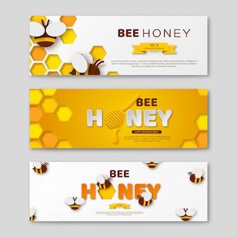 Bannières horizontales de miel abeille avec du papier coupé des lettres de style, peigne et abeilles, illustration vectorielle.
