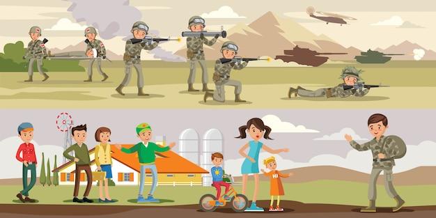Bannières horizontales militaires colorées