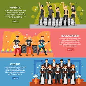 Bannières horizontales de musique populaire
