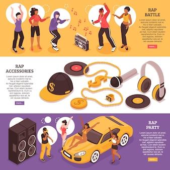 Bannières horizontales de musique rap avec des adolescents participant à la bataille de rap et à la fête de rap isométrique