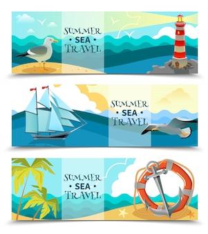 Bannières horizontales nautiques de mer