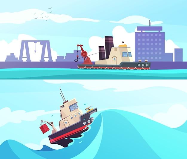 Bannières horizontales nautiques