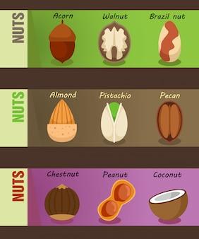 Bannières horizontales de noix naturelles saines