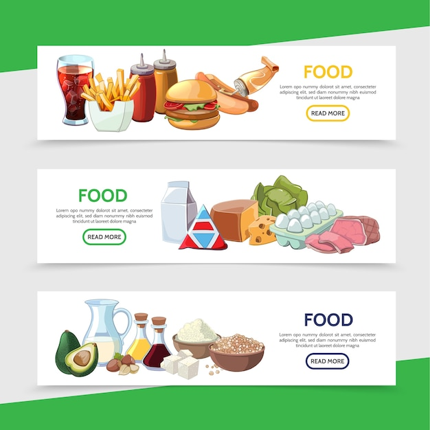 Bannières horizontales de nourriture de dessin animé