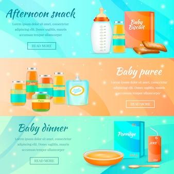 Bannières horizontales de nourriture pour nourrissons