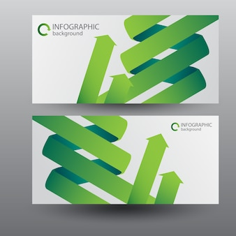 Bannières horizontales numériques avec des flèches de ruban incurvé vert