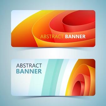 Bannières horizontales en papier abstrait avec bobine d'emballage roulée orange