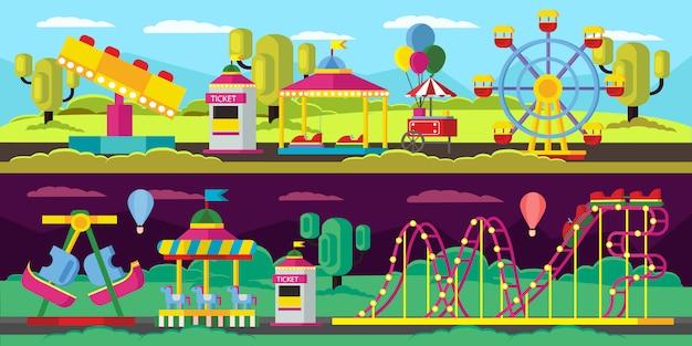 Bannières horizontales de parc d'attractions