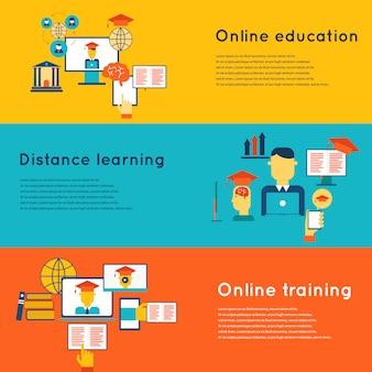 Bannières horizontales plates de l'éducation en ligne sertie d'apprentissage à distance et éléments de formation isolés illustration vectorielle