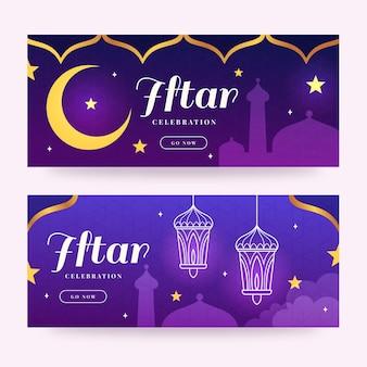 Bannières horizontales plates iftar