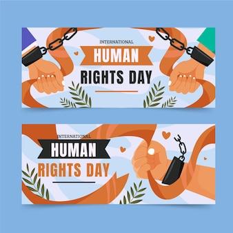 Bannières horizontales plates de la journée internationale des droits de l'homme sertie de mains menottées en chaîne