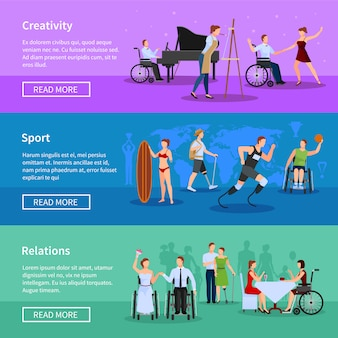 Bannières horizontales plates en ligne de la vie complète de personnes handicapées définir illustration de la page web illustration isolée