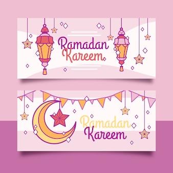 Bannières horizontales plates ramadan
