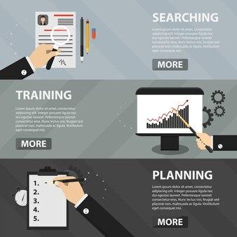 Bannières horizontales plates de recherche, de formation et de planification de sites web et d'applications. concept d'entreprise de marketing, d'affaires et d'apprentissage en ligne.