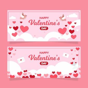 Bannières horizontales plates de la saint-valentin