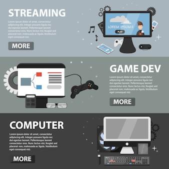Bannières horizontales plates de streaming, développement de jeux et ordinateur.