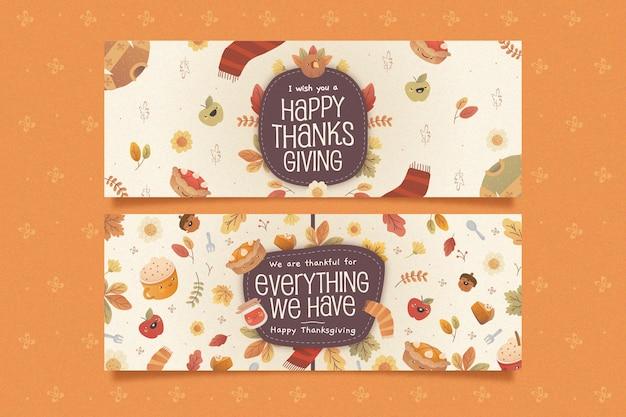 Bannières horizontales plates de thanksgiving