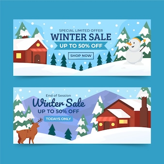 Bannières horizontales plates de vente d'hiver sertie de maison dans la neige