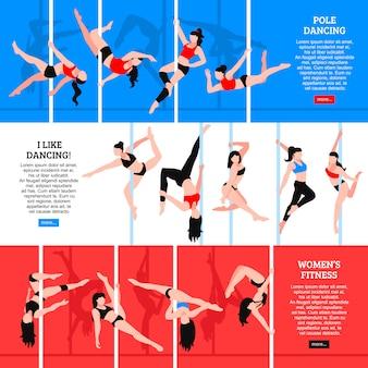 Bannières horizontales de pole dance