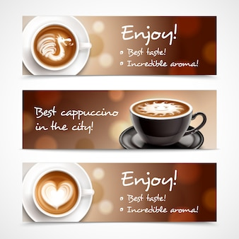 Bannières horizontales pour la publicité sur le café