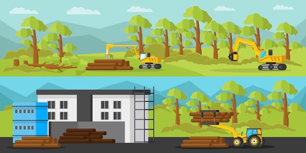 Bannières horizontales de production de bois industriel