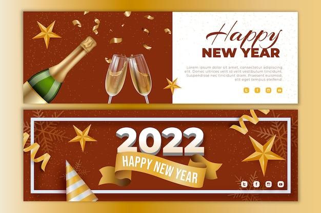 Bannières horizontales réalistes du nouvel an sertie de champagne